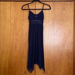 Navy blue empire waste spaghetti strap dress